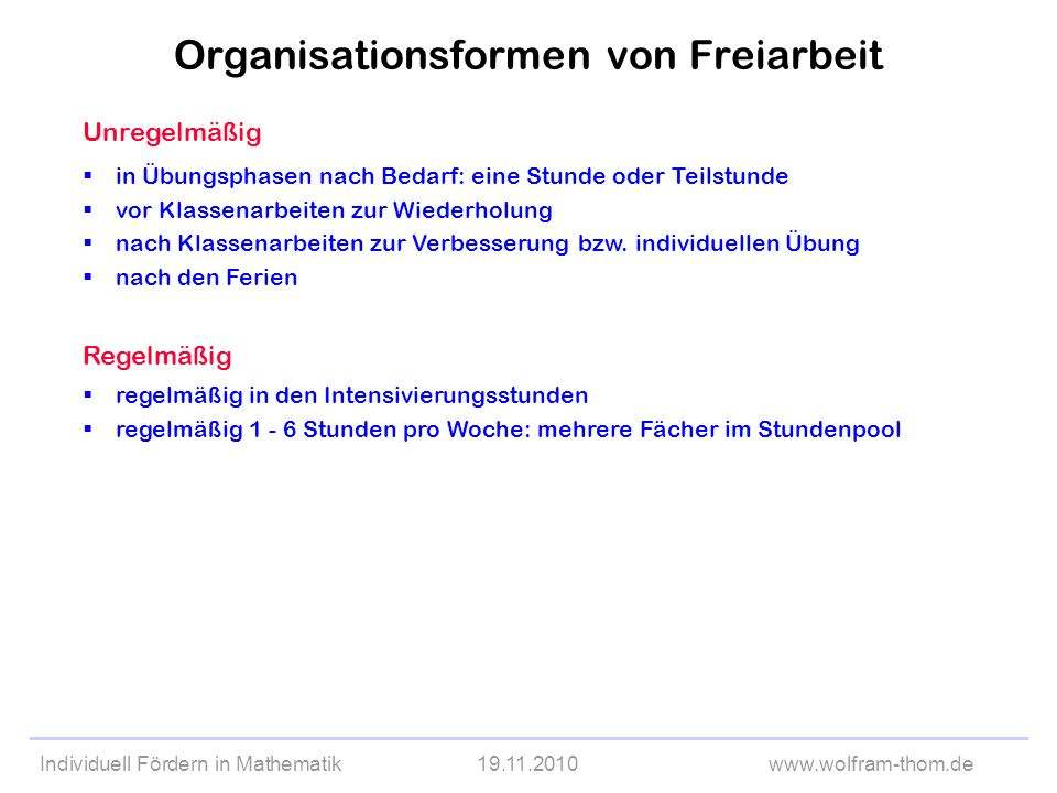 Organisationsformen von Freiarbeit