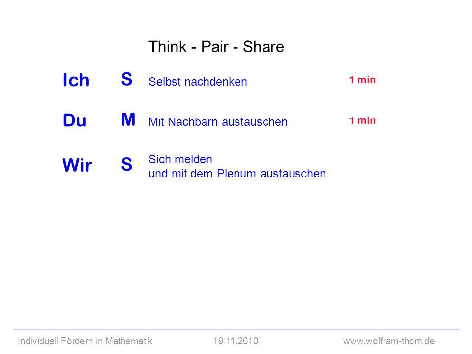 S Ich Du M Wir Think - Pair - Share Selbst nachdenken