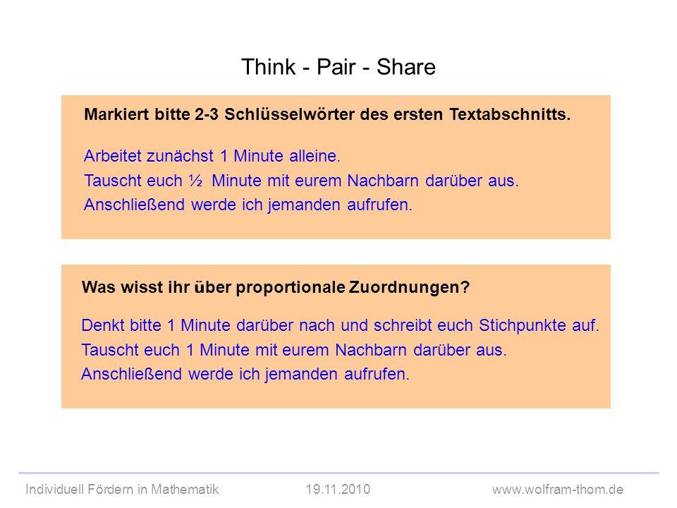 Think - Pair - Share Markiert bitte 2-3 Schlüsselwörter des ersten Textabschnitts. Arbeitet zunächst 1 Minute alleine.