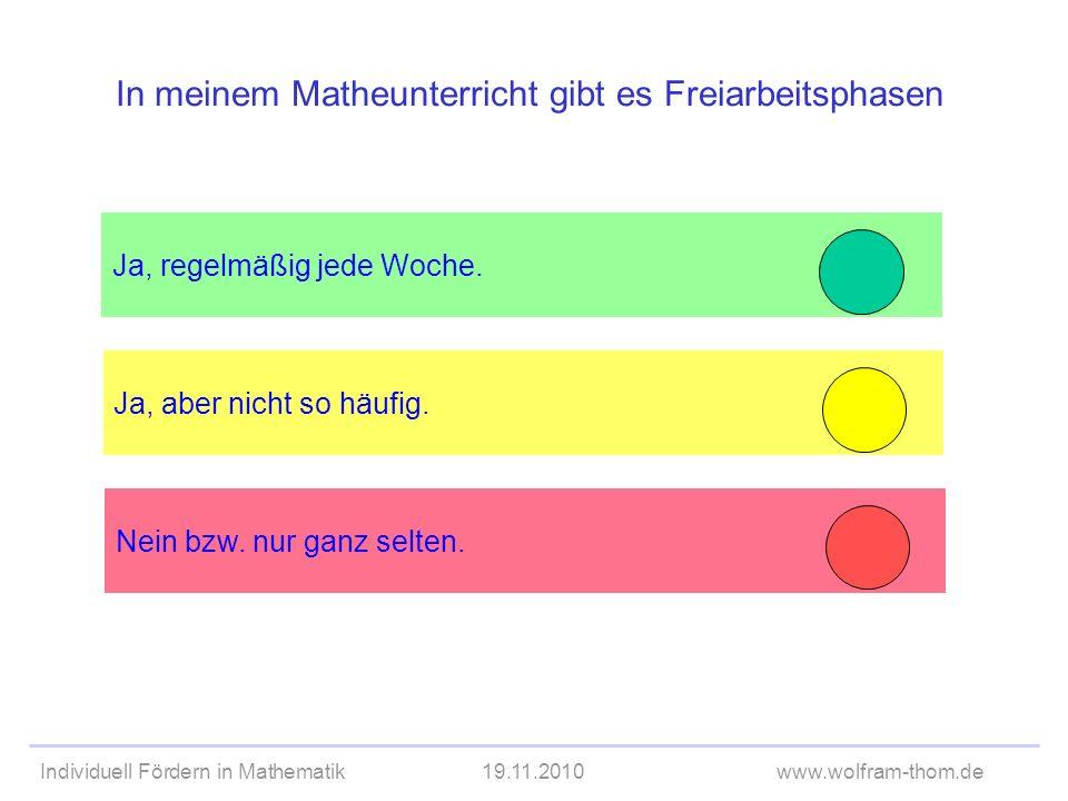 In meinem Matheunterricht gibt es Freiarbeitsphasen