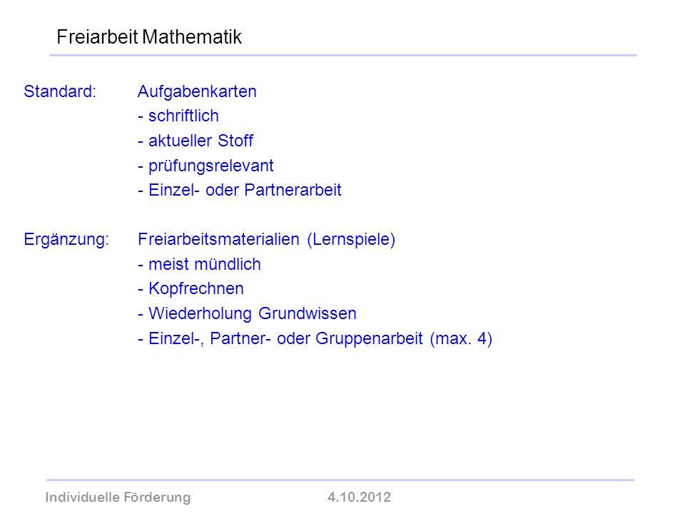 Freiarbeit Mathematik
