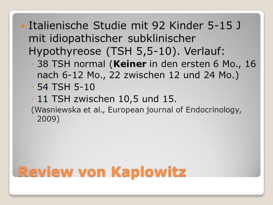 Italienische Studie mit 92 Kinder 5-15 J mit idiopathischer subklinischer Hypothyreose (TSH 5,5-10). Verlauf: