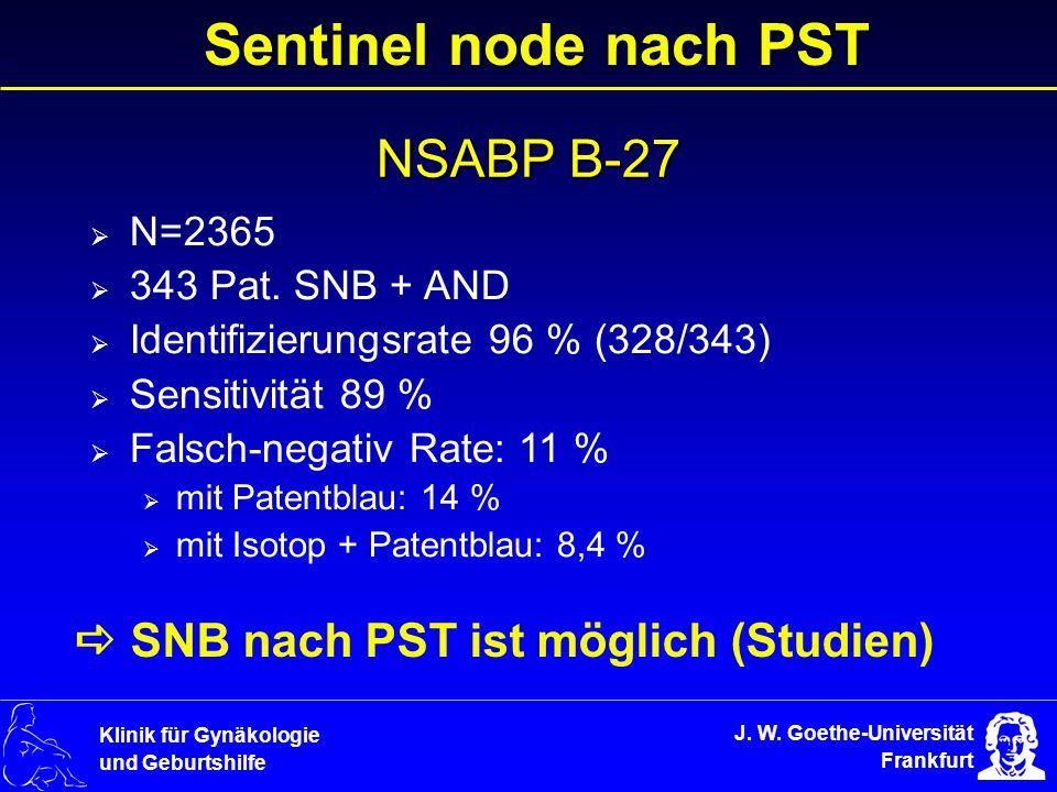 Sentinel node nach PST NSABP B-27  SNB nach PST ist möglich (Studien)