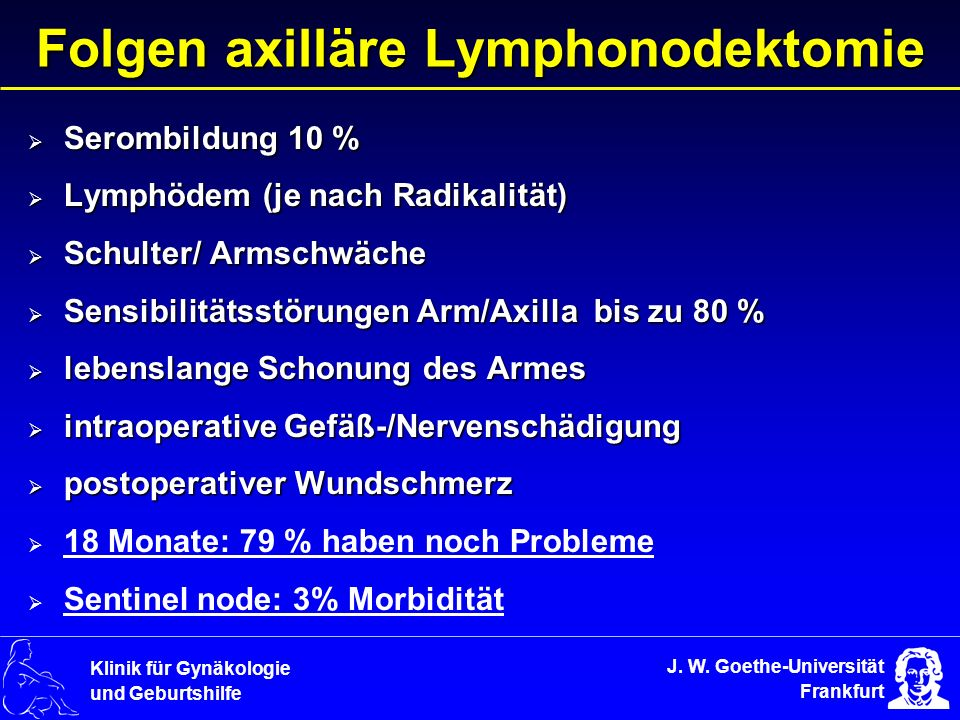 Folgen axilläre Lymphonodektomie