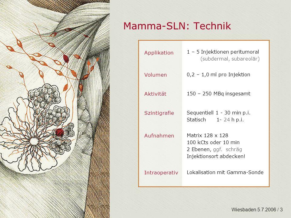 Mamma-SLN: Technik Applikation Volumen Aktivität Szintigrafie