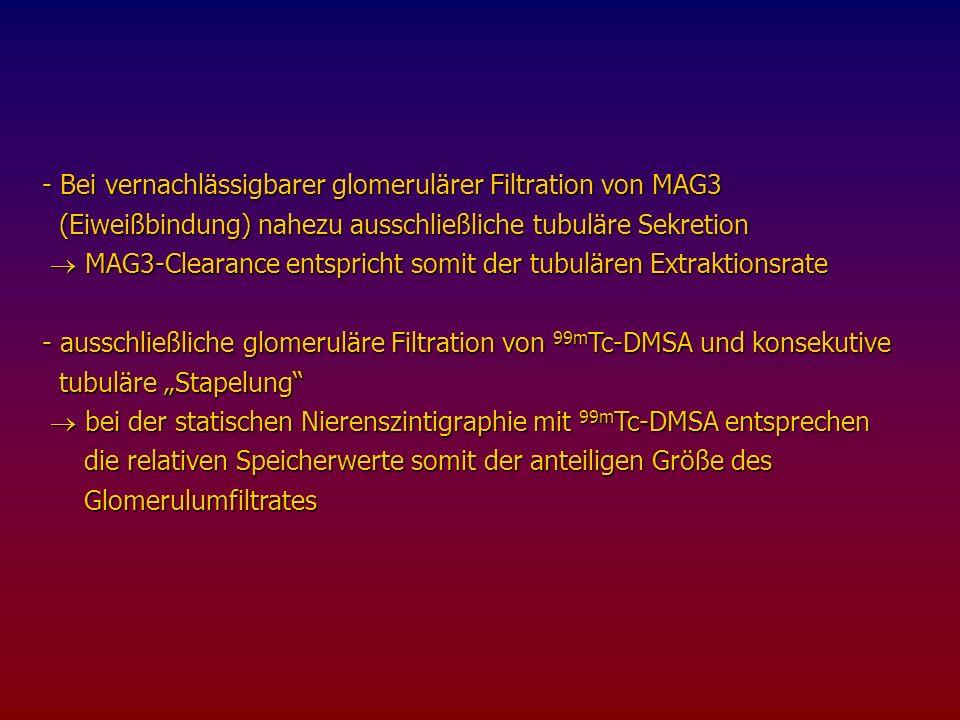 Bei vernachlässigbarer glomerulärer Filtration von MAG3