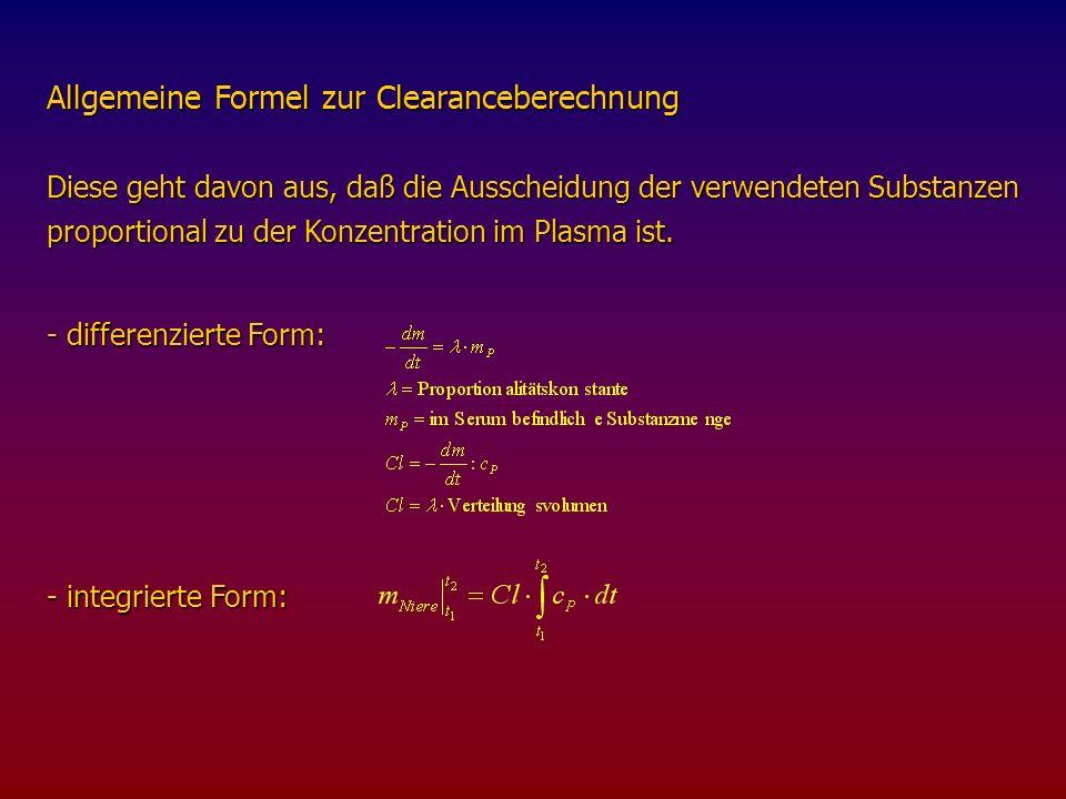 Allgemeine Formel zur Clearanceberechnung