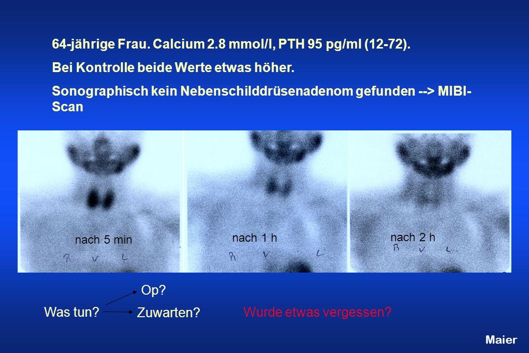 64-jährige Frau. Calcium 2.8 mmol/l, PTH 95 pg/ml (12-72).