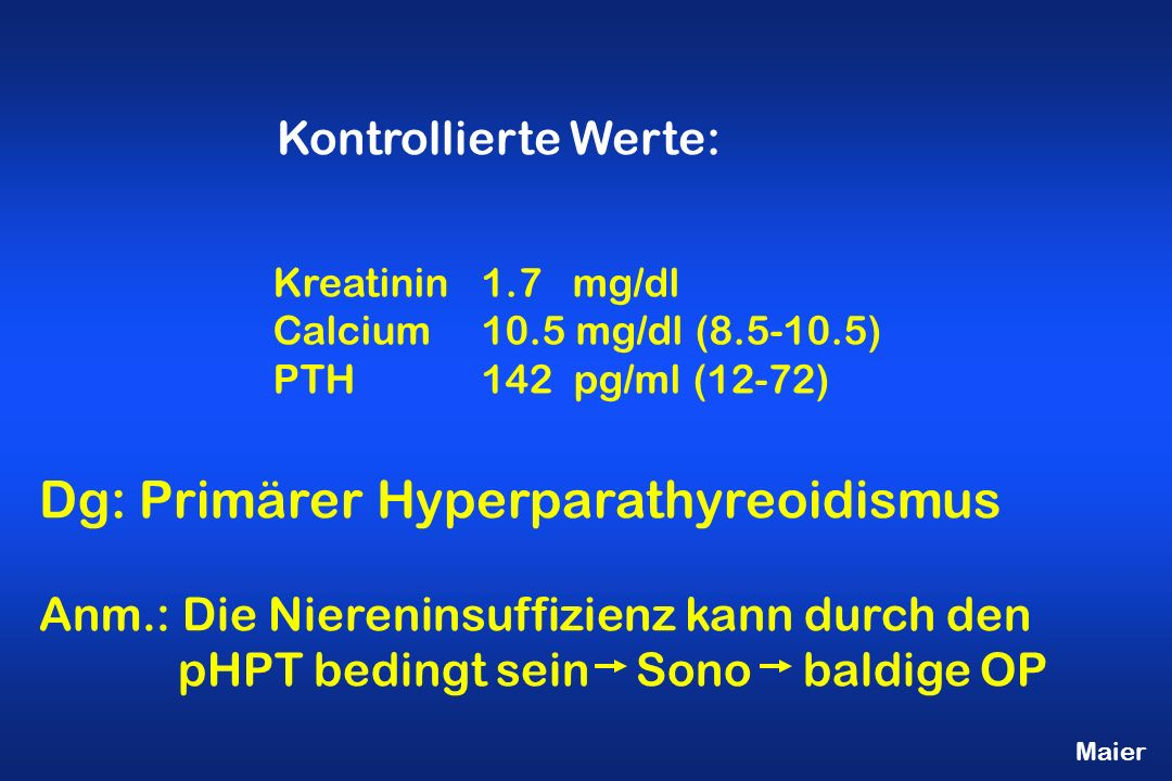 Dg: Primärer Hyperparathyreoidismus