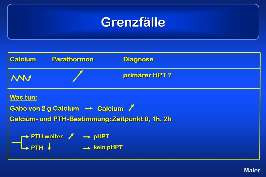 Grenzfälle Calcium Parathormon Diagnose primärer HPT Was tun:
