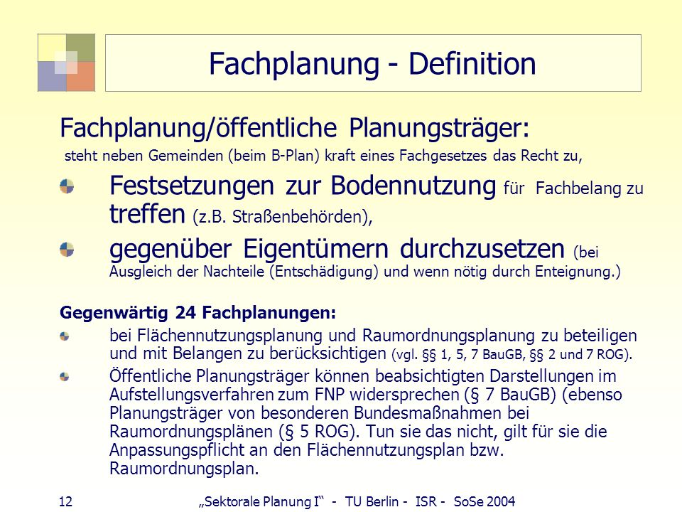 Fachplanung - Definition