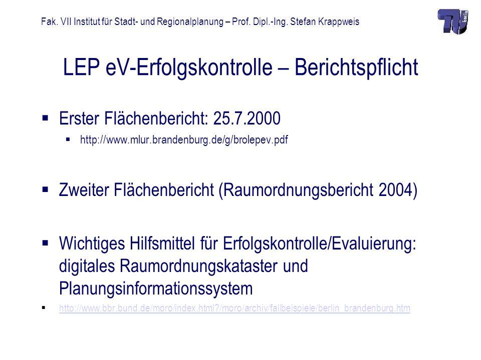LEP eV-Erfolgskontrolle – Berichtspflicht