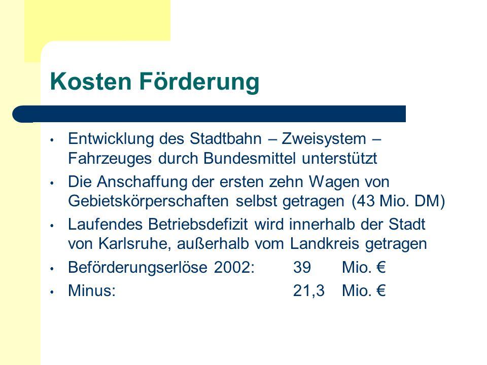 Kosten FörderungEntwicklung des Stadtbahn – Zweisystem – Fahrzeuges durch Bundesmittel unterstützt.