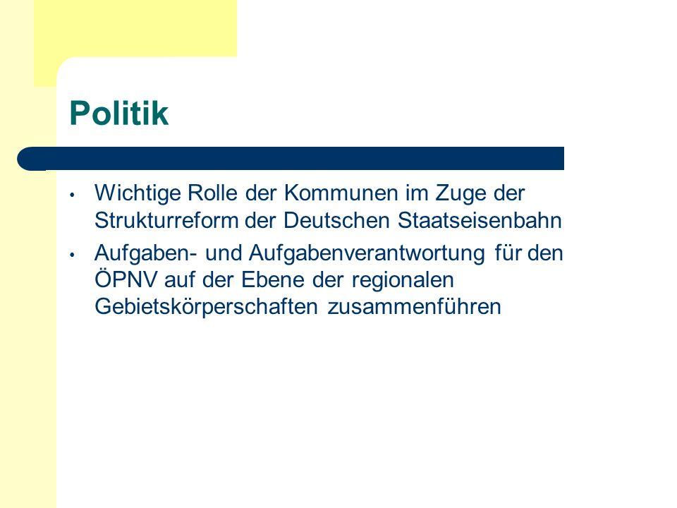 Politik Wichtige Rolle der Kommunen im Zuge der Strukturreform der Deutschen Staatseisenbahn.