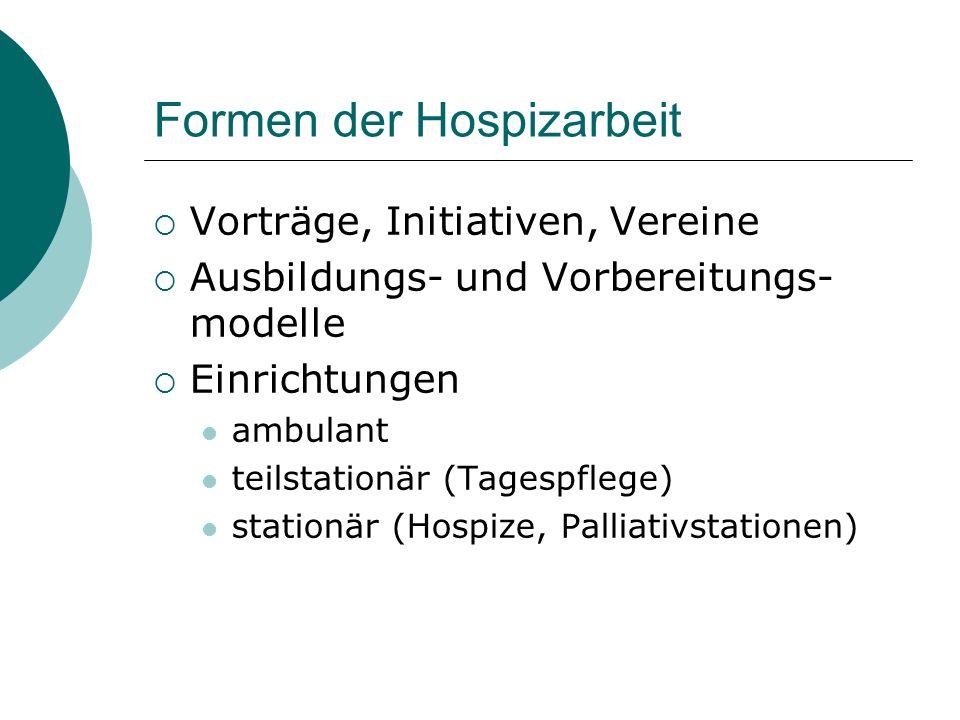 Formen der Hospizarbeit
