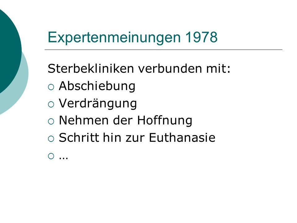 Expertenmeinungen 1978 Sterbekliniken verbunden mit: Abschiebung