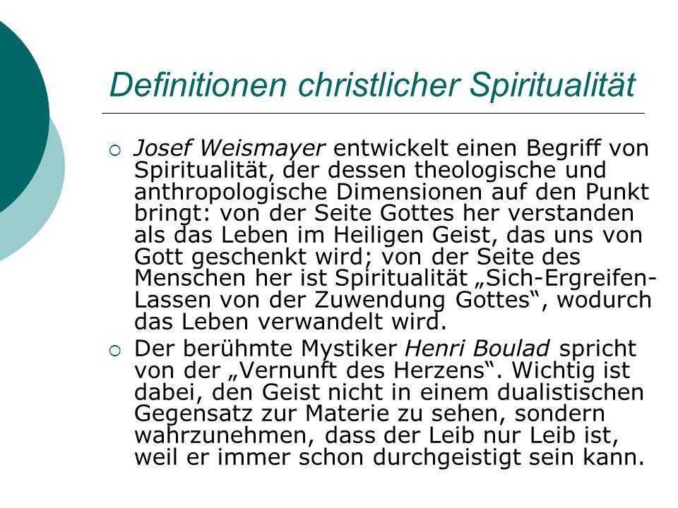 Definitionen christlicher Spiritualität