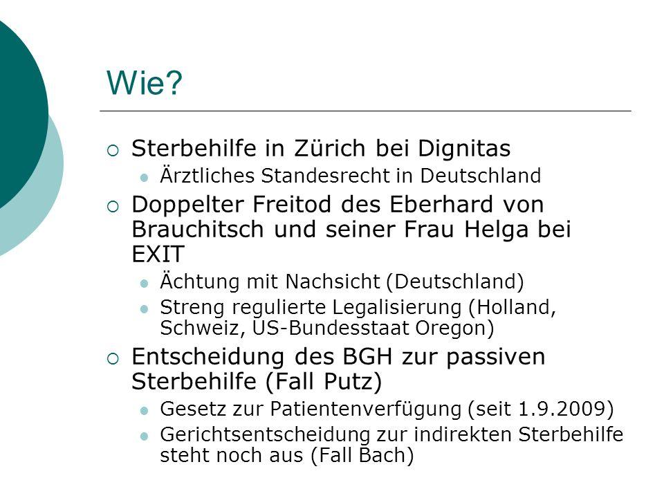 Wie Sterbehilfe in Zürich bei Dignitas