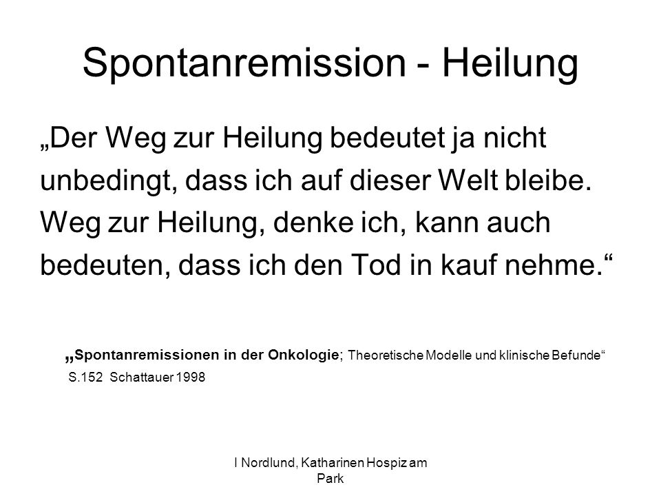 Spontanremission - Heilung