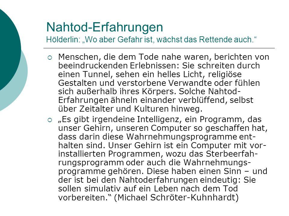 """Nahtod-Erfahrungen Hölderlin: """"Wo aber Gefahr ist, wächst das Rettende auch."""