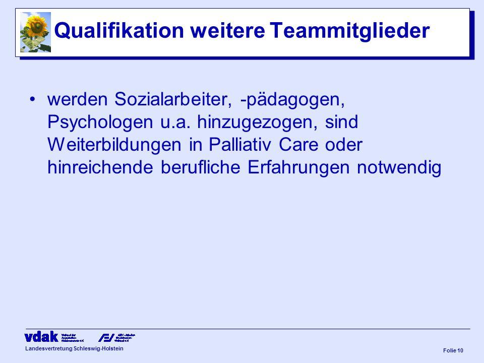 Qualifikation weitere Teammitglieder