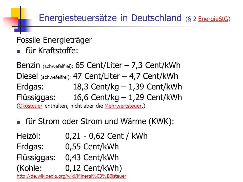 Energiesteuersätze in Deutschland (§ 2 EnergieStG)