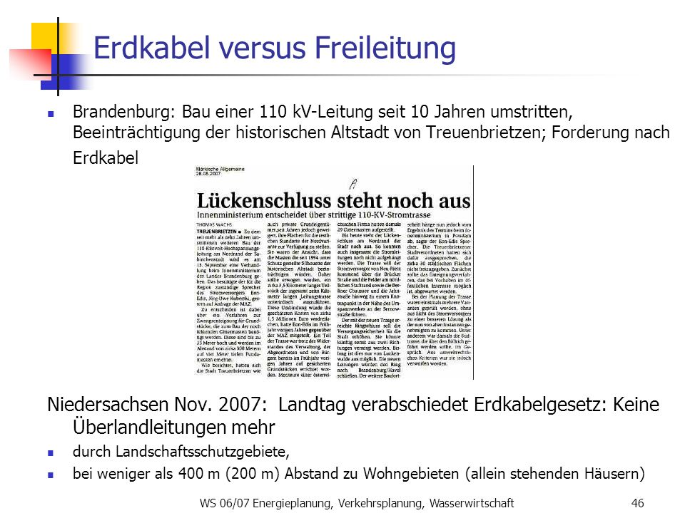 Erdkabel versus Freileitung