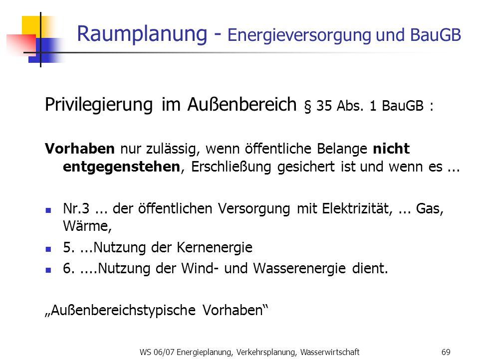 Raumplanung - Energieversorgung und BauGB