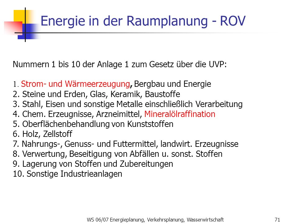 Energie in der Raumplanung - ROV