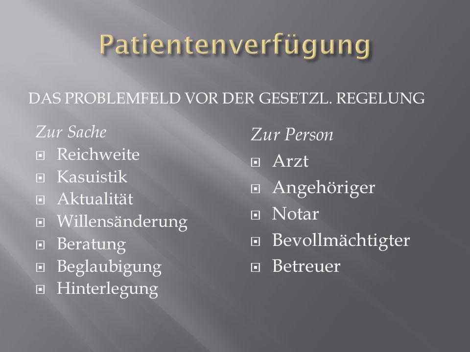 Patientenverfügung Zur Person Arzt Angehöriger Notar Bevollmächtigter