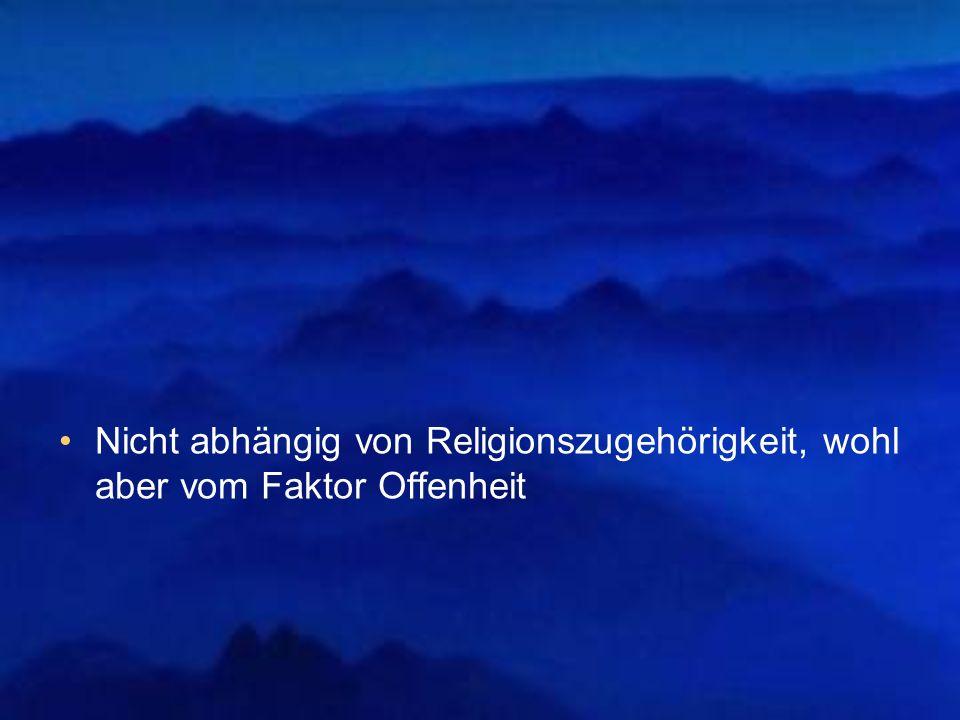 Nicht abhängig von Religionszugehörigkeit, wohl aber vom Faktor Offenheit