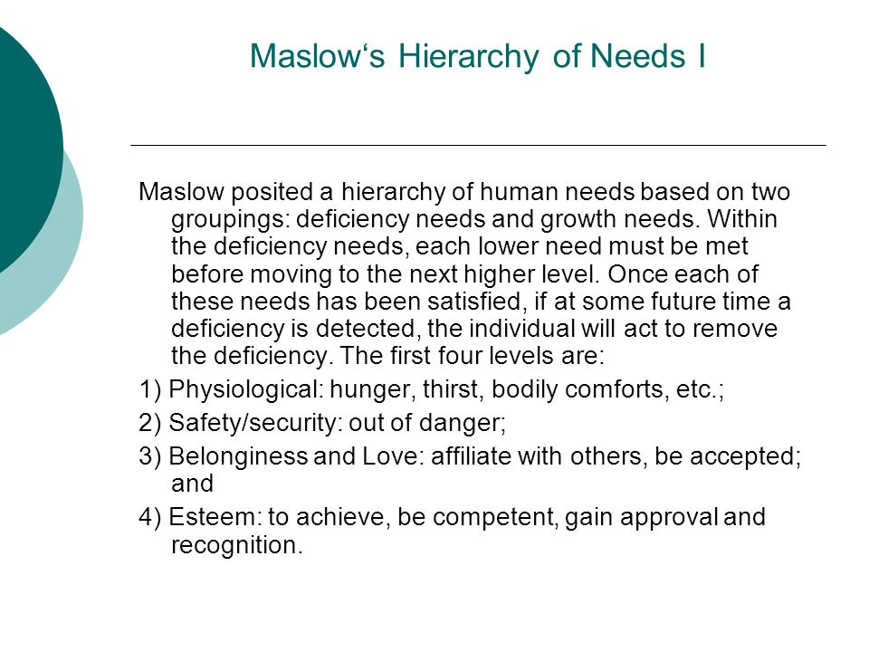 Maslow's Hierarchy of Needs I