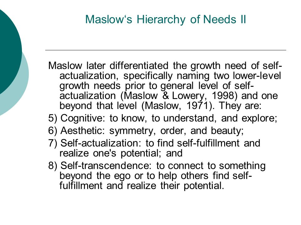 Maslow's Hierarchy of Needs II