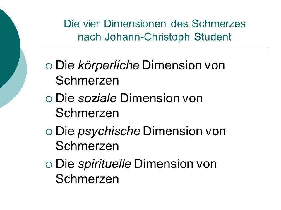 Die vier Dimensionen des Schmerzes nach Johann-Christoph Student