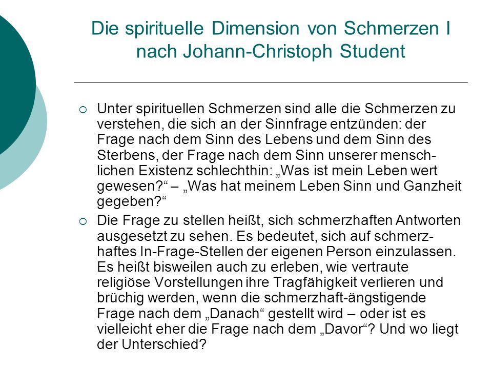Die spirituelle Dimension von Schmerzen I nach Johann-Christoph Student