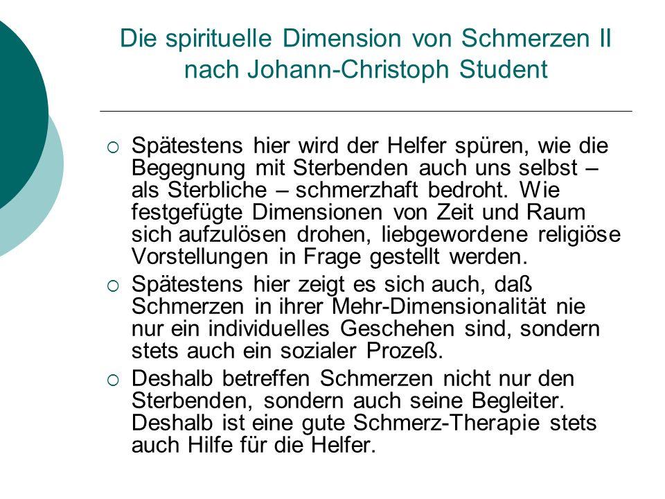 Die spirituelle Dimension von Schmerzen II nach Johann-Christoph Student