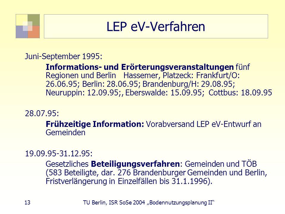 LEP eV-Verfahren Juni-September 1995: