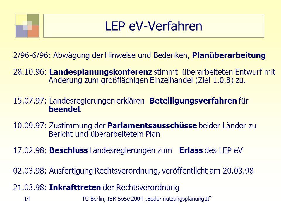LEP eV-Verfahren 2/96-6/96: Abwägung der Hinweise und Bedenken, Planüberarbeitung.