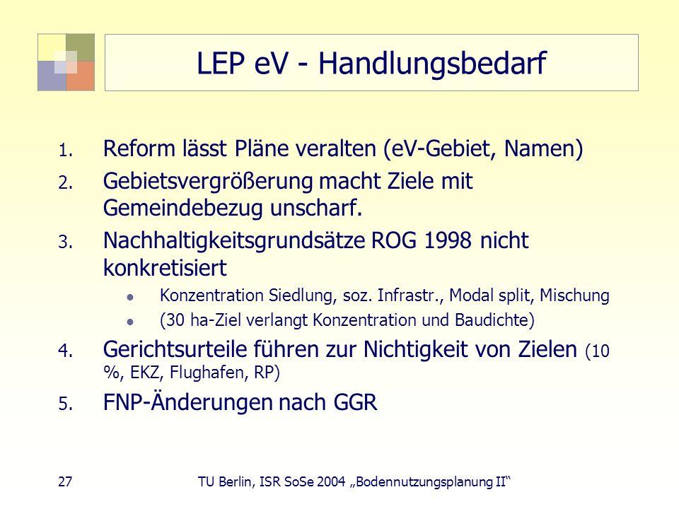 LEP eV - Handlungsbedarf