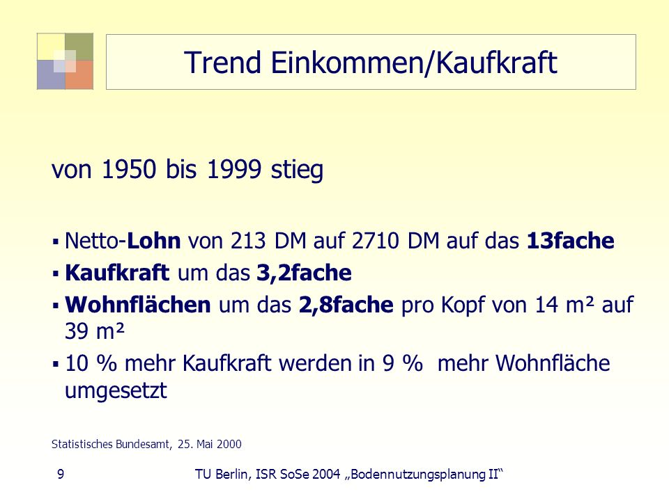 Trend Einkommen/Kaufkraft