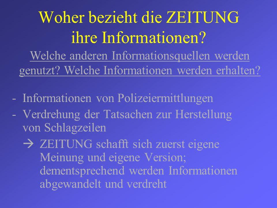 Woher bezieht die ZEITUNG ihre Informationen