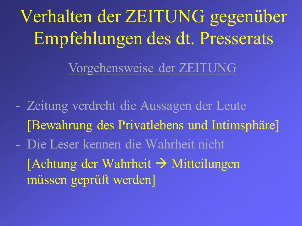 Verhalten der ZEITUNG gegenüber Empfehlungen des dt. Presserats