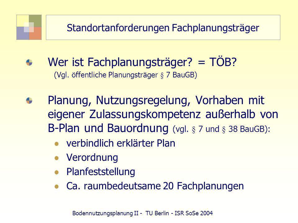 Standortanforderungen Fachplanungsträger