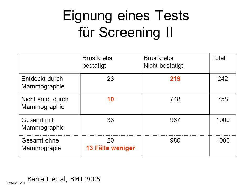 Eignung eines Tests für Screening II