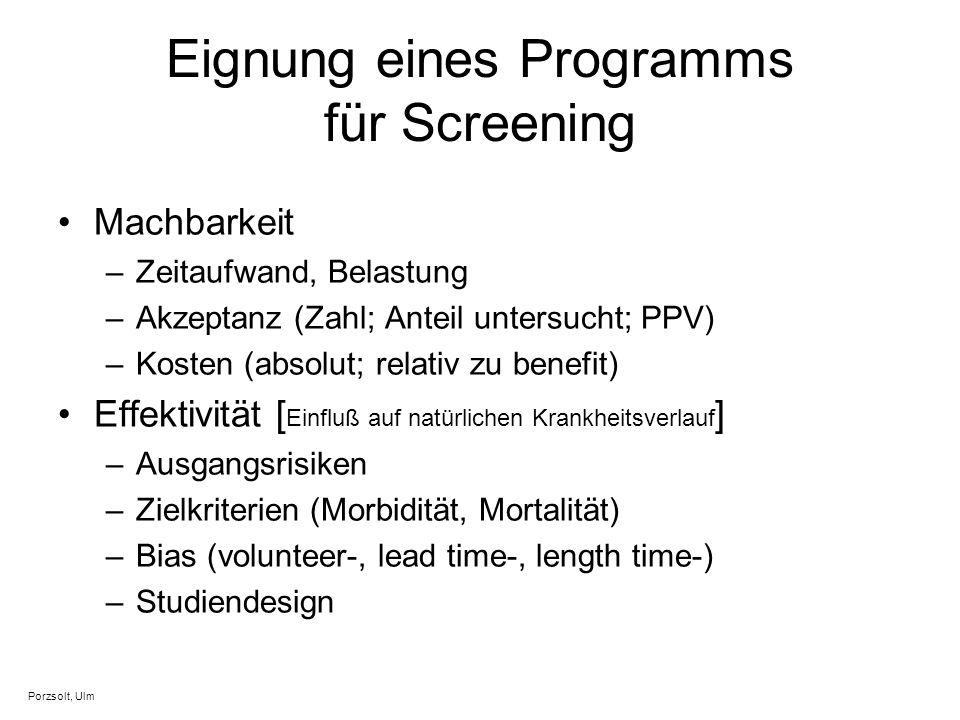 Eignung eines Programms für Screening