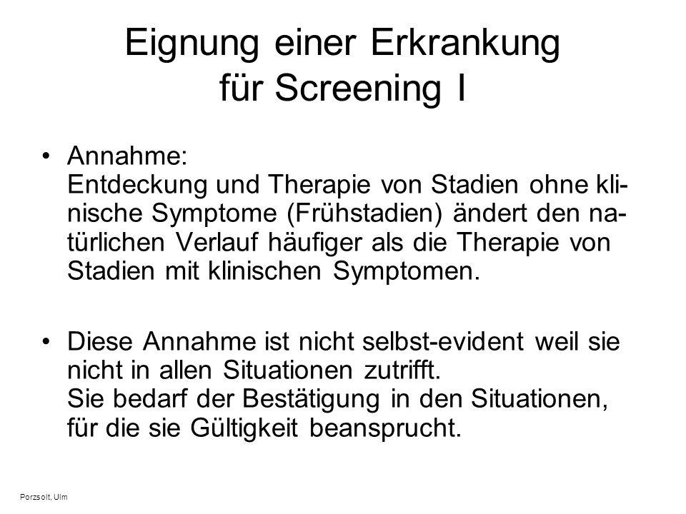 Eignung einer Erkrankung für Screening I