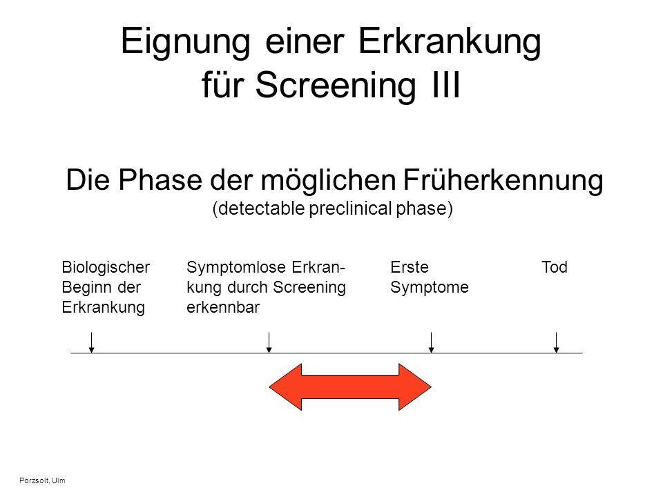 Eignung einer Erkrankung für Screening III