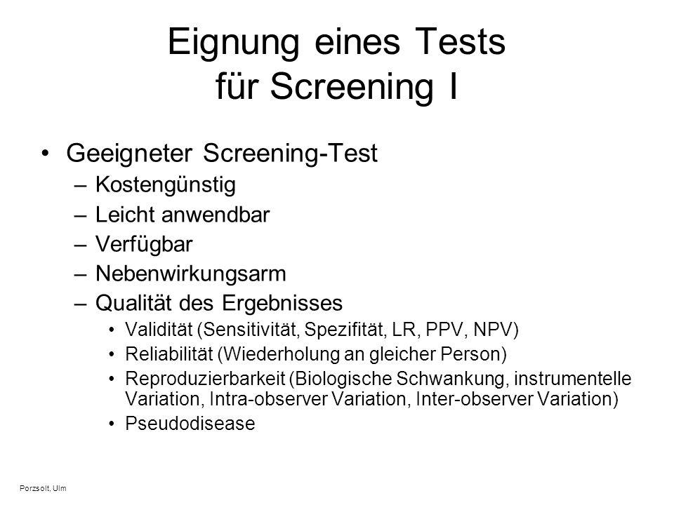 Eignung eines Tests für Screening I
