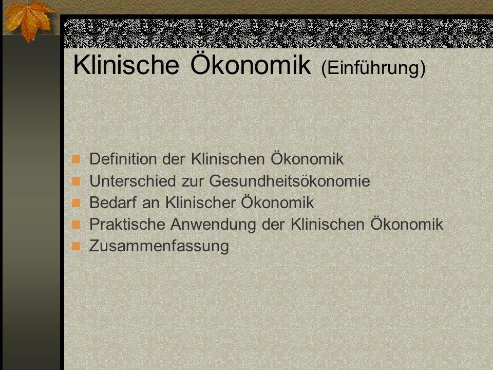 Klinische Ökonomik (Einführung)