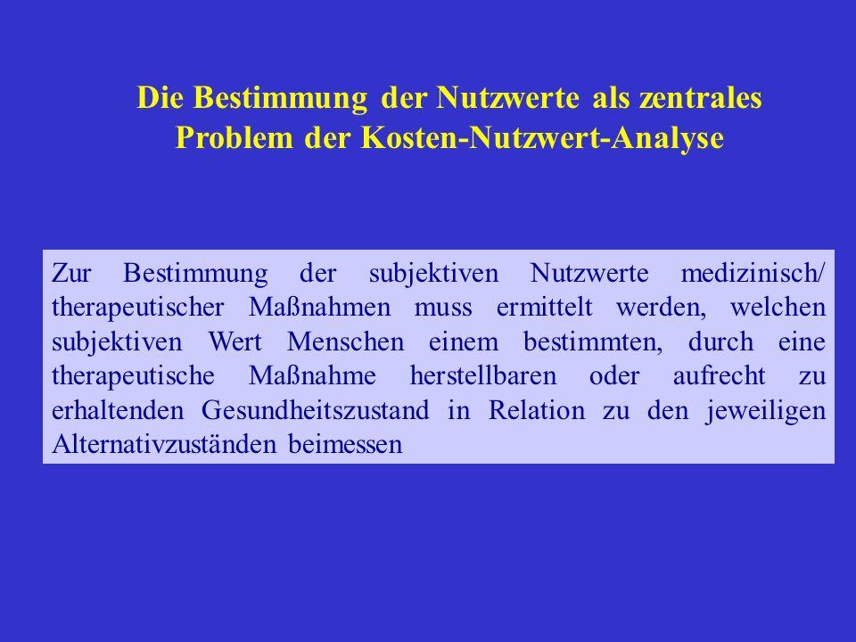 Die Bestimmung der Nutzwerte als zentrales Problem der Kosten-Nutzwert-Analyse